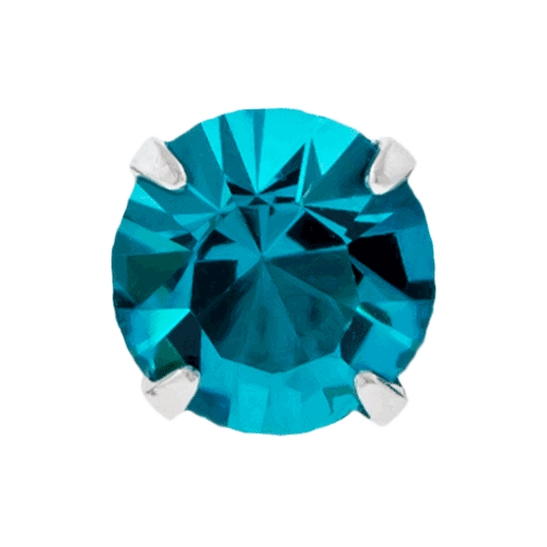14G STEEL ROUND GEM PRONG SET REPLACEMENT HEAD - BLUE ZIRCON 3MM
