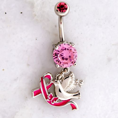 BREAST CANCER AWARENESS NAVEL RING WITH DOVE