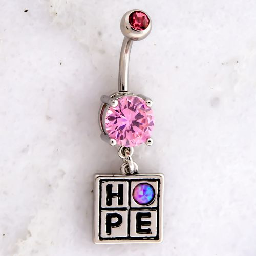 BREAST CANCER AWARENESS PINK OPAL HOPE NAVEL RING