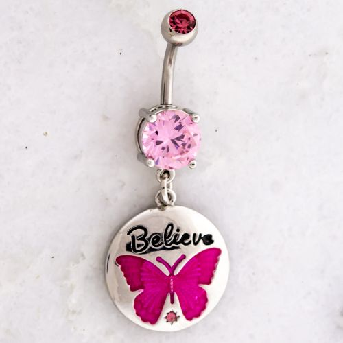 BREAST CANCER AWARENESS NAVEL RING WITH BELIEVE BUTTERFLY