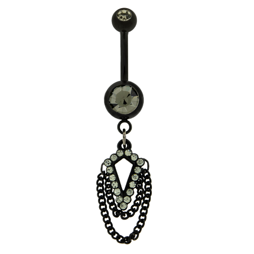 """14G 3/8"""" 5MM X 8MM NAVEL RING WITH  DANGLING CZS IN DIAMOND SHAPE WITH CHAINS-BK"""