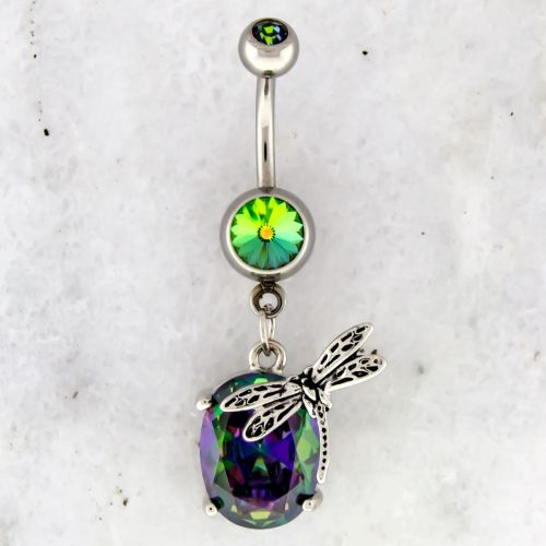 DRAGONFLY ACCENTED  NAVEL RING