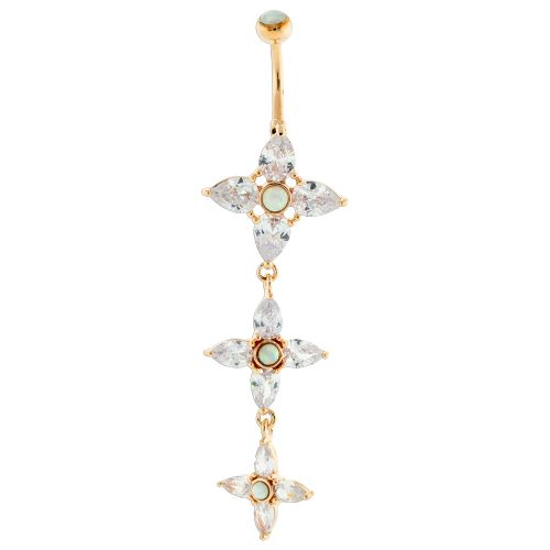 CASCADING GEM FLOWER WITH SYNTHETIC OPALS- ROSE GOLD