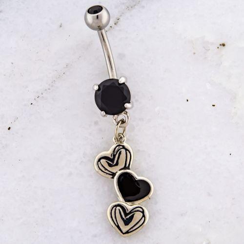 SCRIBBLED HEART NAVEL RING-BLACK