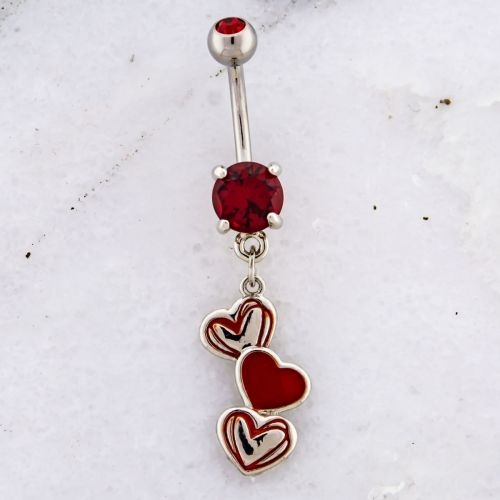 SCRIBBLED HEART NAVEL RING-RED