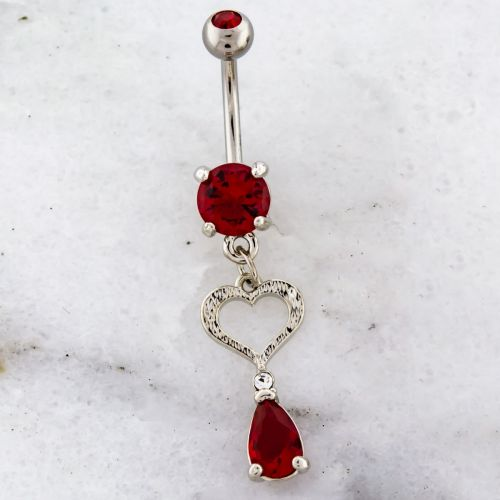 CUTOUT HEART WITH GEM TEARDROP NAVEL RING-RED