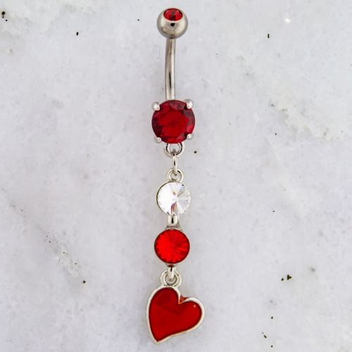 HEART AND GEM DANGLE NAVEL RING-RED