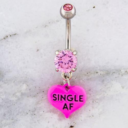 14G SINGLE AF HEART NAVEL RING