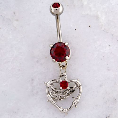 BARBED WIRE HEART WITH CHAINS NAVEL RING-RD