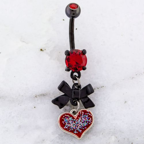 BLACK BOW AND RED GLITTER HEART BELLY RING