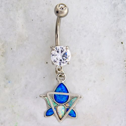 OPAL LOTUS NAVEL RING