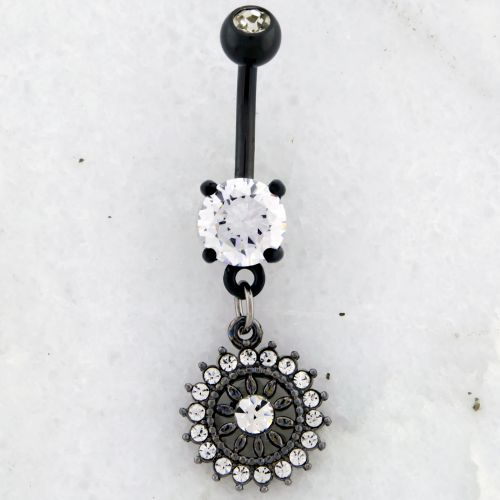 14G BLACK PVD NAVEL RING WITH CLEAR GEM FLOWER