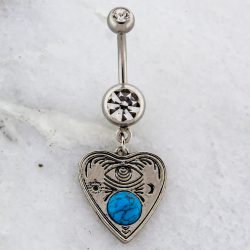 OUIJA WITH TURQUOISE STONE NAVEL RING