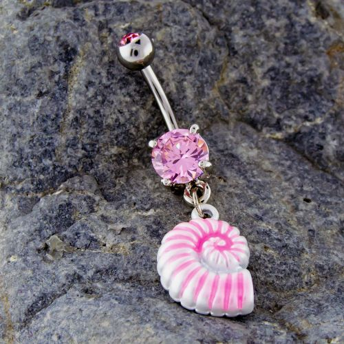 14G 3/8 SEA SHELL BELLY RING-PINK