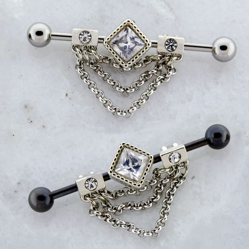 14G INDUSTRIAL BARBELL WITH ADJUSTABLE DIAMOND AND CHAINS