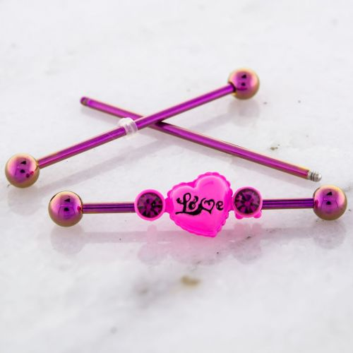 PINK ANODIZED INDUSTRIAL BARBELL WITH LOVE HEART