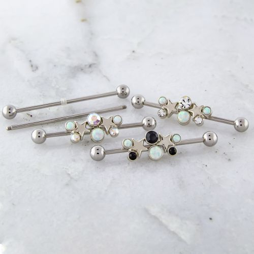 14G STAR INDUSTRIAL BARBELL WITH GEM AND OPALS