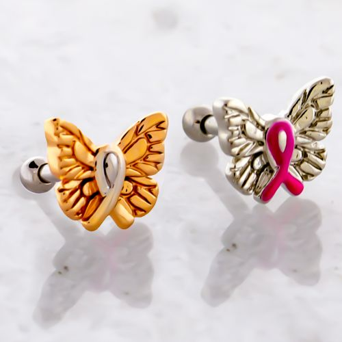 BREAST CANCER AWARENESS BUTTERFLY WITH RIBBON TRAGUS BARBELL