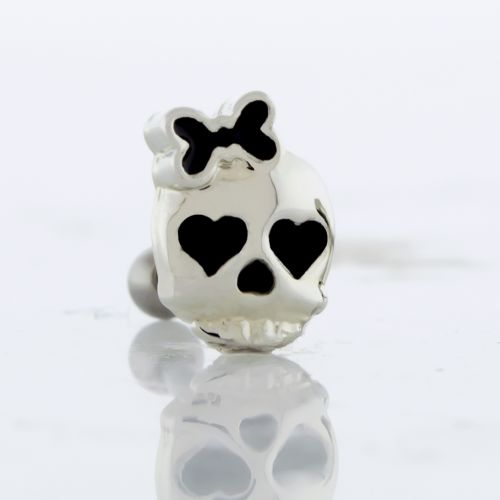 16G SKULL WITH HEART EYES AND BOW TRAGUS BARBELL