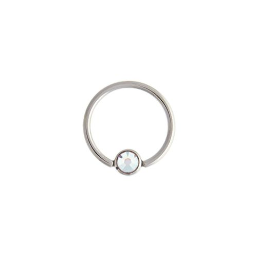 CAPTIVE BEAD RING 14G 1/2 5MM BALL WITH AB GEM 316L STEEL 6 PIECE PACKS