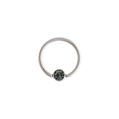 "14G STEEL GEM CAPTIVE BEAD RING-1.6MM (14G)-5MM-BLACK DIAMOND-13MM (1/2"")"