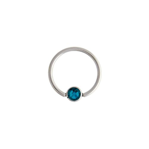 "14G STEEL GEM CAPTIVE BEAD RING-1.6MM (14G)-5MM-BLUE ZIRCON-13MM (1/2"")"