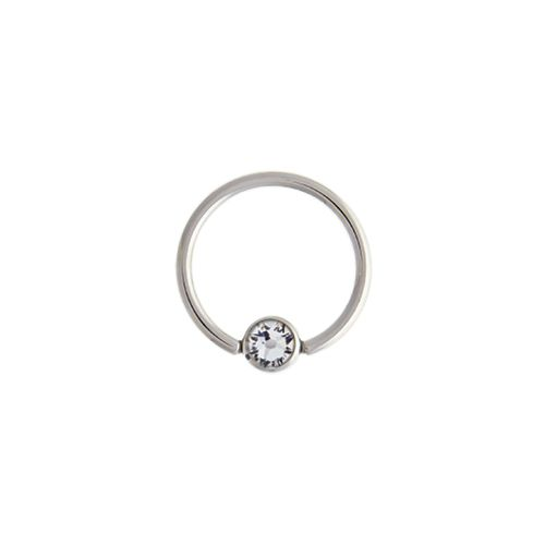 CAPTIVE BEAD RING 14G 1/2 5MM BALL WITH CLEAR GEM 316L STEEL 6 PIECE PACKS