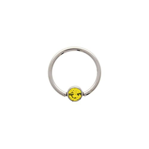"14G STEEL GEM CAPTIVE BEAD RING-1.6MM (14G)-5MM-CITRINE-13MM (1/2"")"