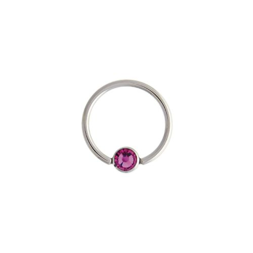 CAPTIVE BEAD RING 14G 1/2 5MM BALL WITH PINK GEM 316L STEEL 6 PIECE PACKS
