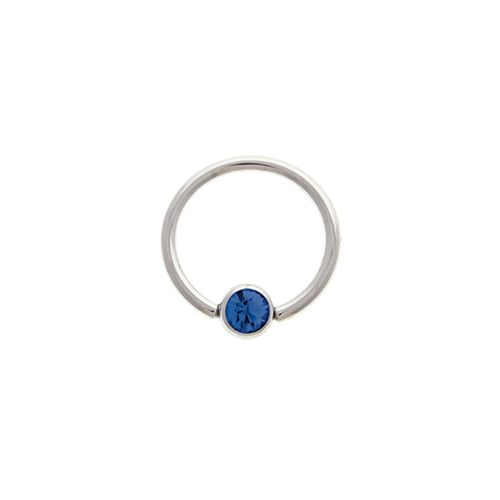 "14G STEEL GEM CAPTIVE BEAD RING-1.6MM (14G)-5MM-SAPPHIRE-13MM (1/2"")"