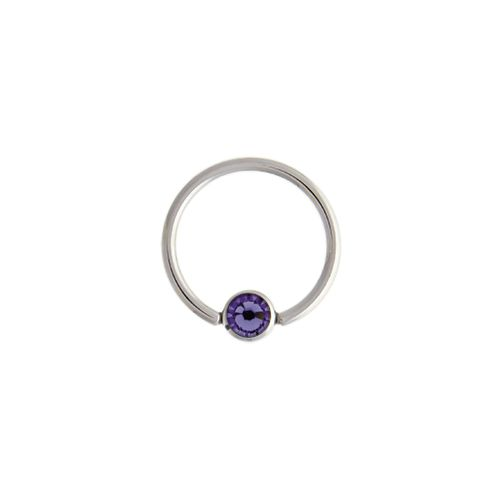 CAPTIVE BEAD RING 14G 1/2 5MM BALL WITH TANZANITE GEM 316L STEEL 6 PIECE PACKS