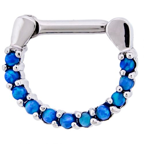 STEEL CAST 16G 1/4 SEPTUM CLICKER WITH SYNTHETIC BLUE OPAL