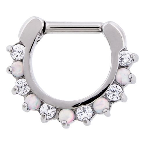 STEEL CAST 16G 1/4 SEPTUM CLICKER WITH ALTERNATING SYNTHETIC WHITE OPAL AND CLEAR GEM