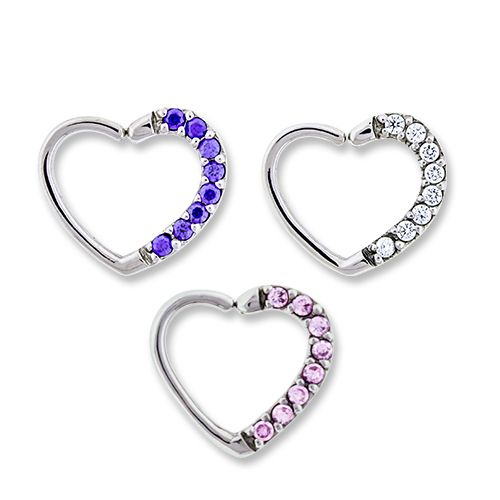 LEFT SIDE PAVE GEM ANNEALED HEART DAITH RING