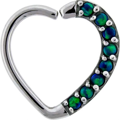16G 3/8 LEFT SIDE ANNEALED HEART DAITH RING WITH SYNTHETIC BLACK OPALS