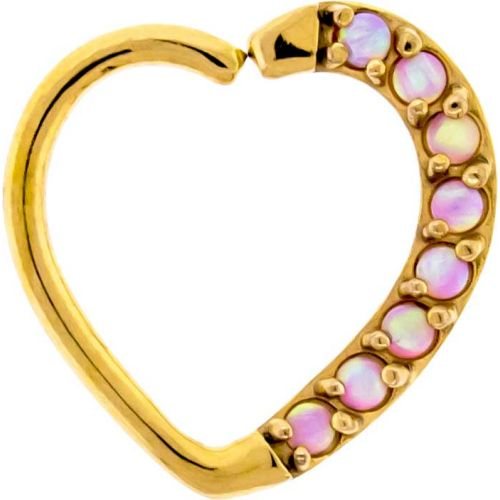 16G 3/8 LEFT SIDE ANNEALED GOLD PVD COATED HEART DAITH RING WITH SYNTHETIC PINK OPALS