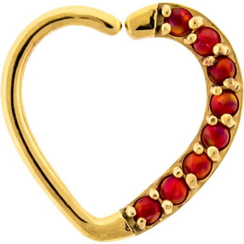16G 3/8 LEFT SIDE ANNEALED GOLD PVD COATED HEART DAITH RING WITH SYNTHETIC RED OPALS
