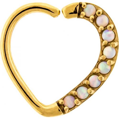 16G 3/8 LEFT SIDE GOLD PVD COATED ANNEALED HEART DAITH RING WITH SYNTHETIC WHITE OPALS