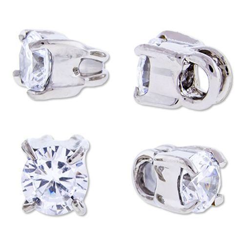 16G SLIDING CHARMS WITH PRONG SET CLEAR GEM