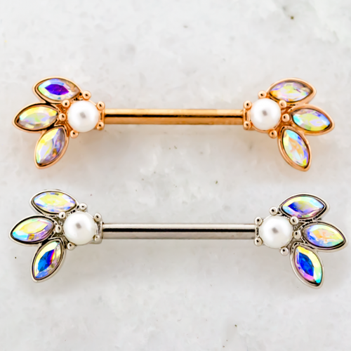 NIPPLE BARBELL WITH GEM PEARL ENDS