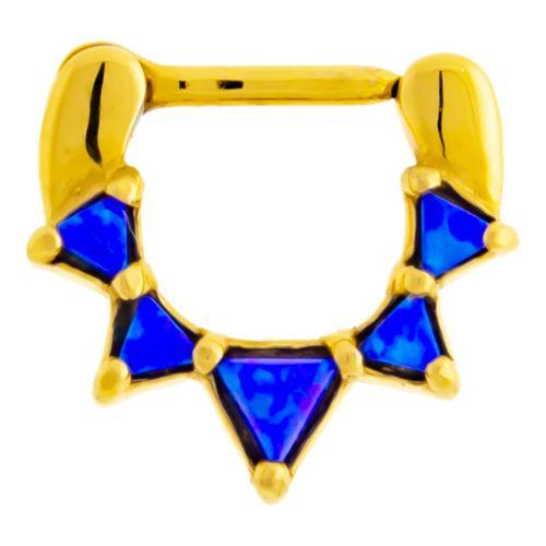 "OPAL TRIANGLE SEPTUM CLICKER-6MM (1/4"")-BLUE OPAL"