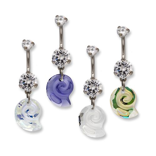 14G TITANIUM SWAROVSKI SEA SNAIL NAVEL RING