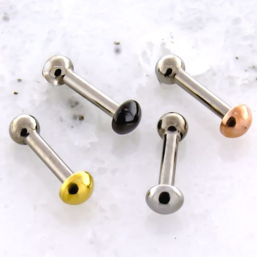 16G THREADLESS BARBELL W/ DOME AND FIXED BALL