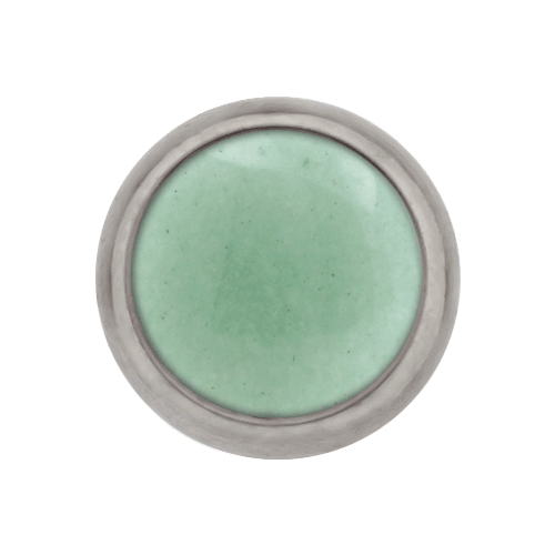 10G, 12G AND 14G STEEL CABOCHON DISC-1.6MM (14G)-5MM-GREEN AVENTURINE