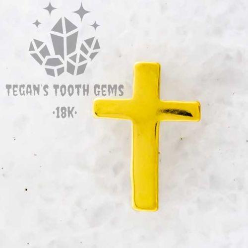 TEGAN'S TOOTH GEMS 18KT GOLD SIMPLE CROSS