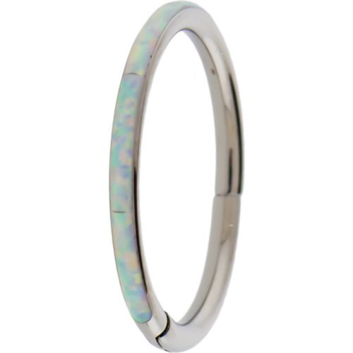 """TITANIUM HINGED SEGMENT RING WITH SYNTHETIC OPAL INLAY-1.2MM (16G)-6MM (1/4"""")-WHITE OPAL"""