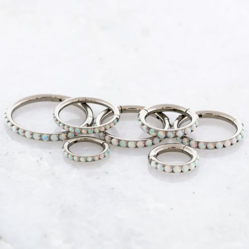 TITANIUM HINGED RING SET WITH LAB CREATED OPALS