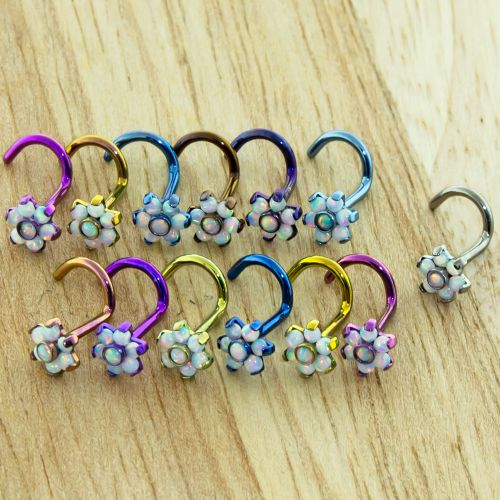 TITANIUM NOSE SCREW 18G 8MM LONG WITH 5MM WHITE OPAL FLOWER SOLD SINGLY