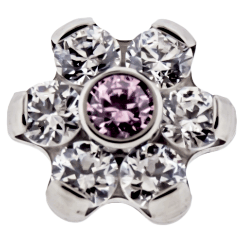 6 CLEAR AND 1 CENTER PINK GEM FLOWER SOLD INDIVIDUALLY