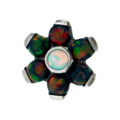 REPLACEMENT HEAD INTERNALLY THREADED TITANIUM ASTM F-136 16G 5MM FLOWER BLACK OPAL PETALS WITH WHITE OPAL CENTER SOLD INDIVIDUALLY